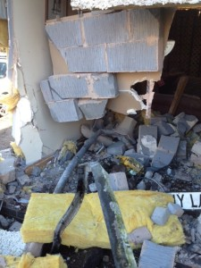 LIVING ROOM DEMOLISHED IN MARKET DRAYTON CRASH 2
