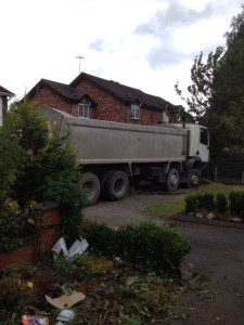 Lorry in front garden in Endon