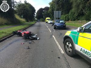 Motorbike and car collision in Uttoxeter 12-08-14