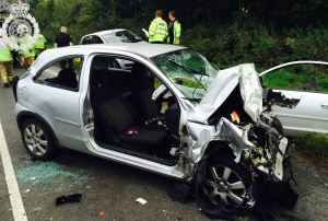 Car and lorry collide in Warwickshire 1 23-09-14