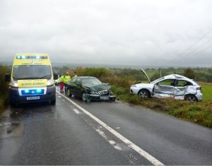 Car leaves road in Staffordshire RTC.jpg 091014