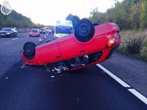Overturned Car on M40 11-10-14