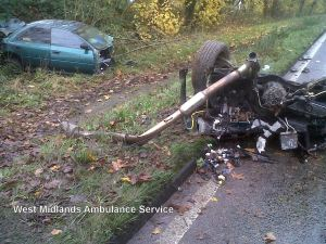 Car splits in two in Coventry