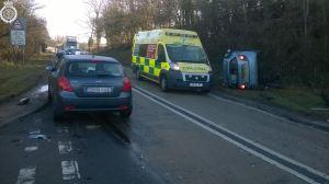 Car on side in Chesterton crash 27-02-15