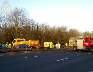 M6 blocked earlier this morning by crash 27-02-15