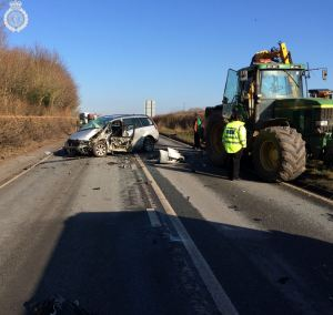 Tractor and two cars involved in collision in Warwickshire 3 09-02-15