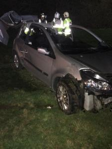 Car leaves M40 and ends up in field 2
