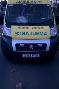 Ambulance windscreen smashed by brick in Birmingham1