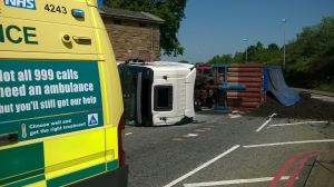 Lorry carrying manure overturns in West Bromwich