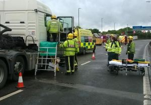 TWO HGVS AND CAR INVOLVED IN M6 RUSH HOUR COLLISION 1