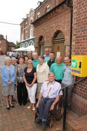 Defibrillator outside Ironbridge public toilets - Large group 1 portrait