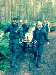 Off-road-style stretrcher takes off-road cyclist to ambulance
