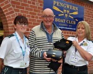Defibrillator at Pengwen Rowing Club - Sue Kapitanec, Chris Jarratt, Darn Lewis