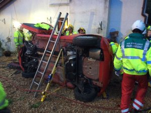 Woman trapped in car after crash in Kington