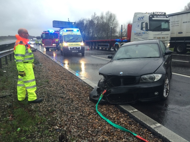 DRIVER WITH JUST CUTS AND BRUISES AFTER M42 CRASH