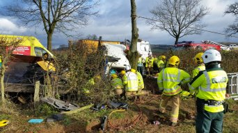 Lorry Driver trapped in Old Colwall 1