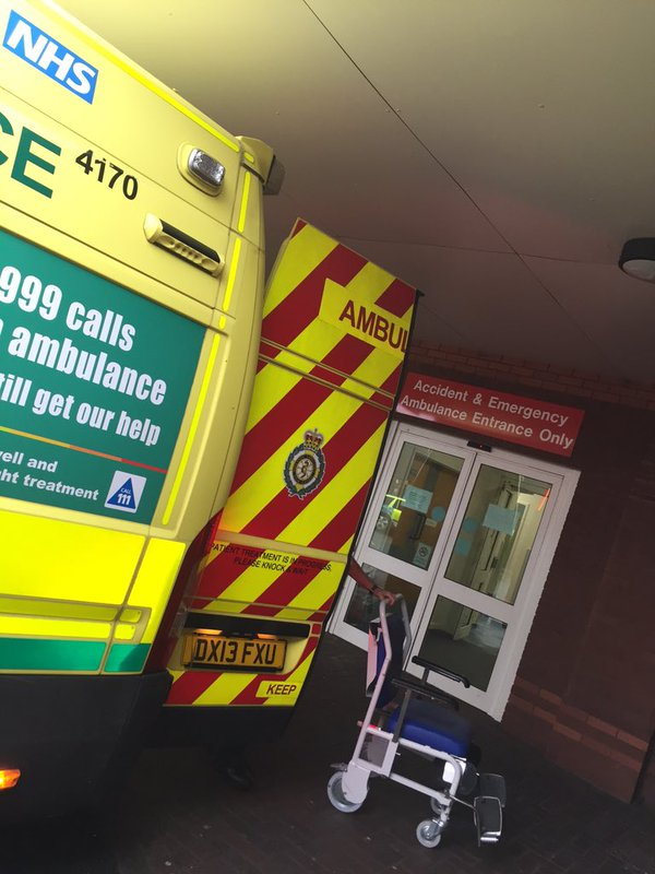 Ambulance at doors to A&E
