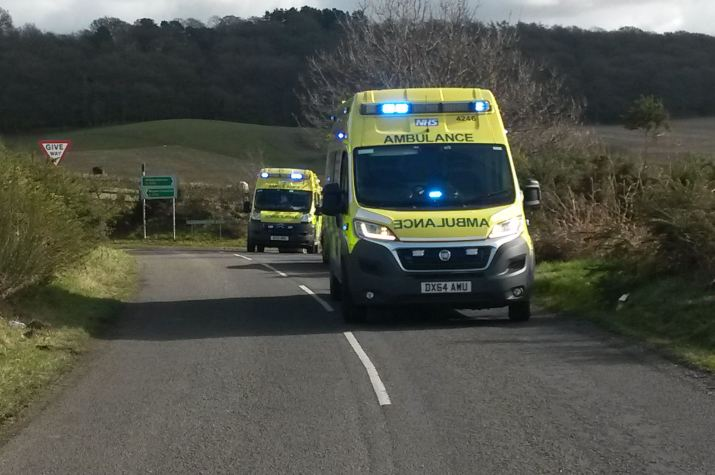 Ambulances on rural road