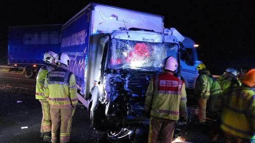 LORRY DRIVER TRAPPED FOR 50 MINUTES ON M6 IN STAFFORD