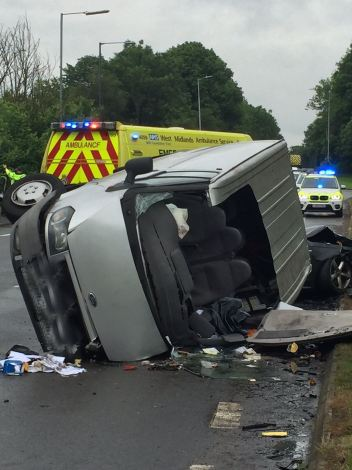 Van ends up on side in north warwickshire collision 1