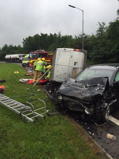 Van ends up on side in north warwickshire collision 2