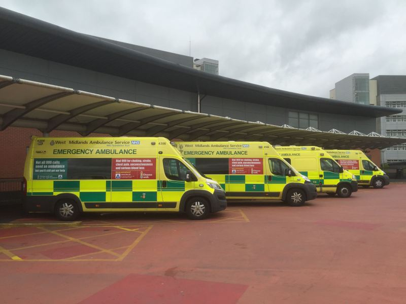 Ambulances at University Hospital Coventry & Warwickshire