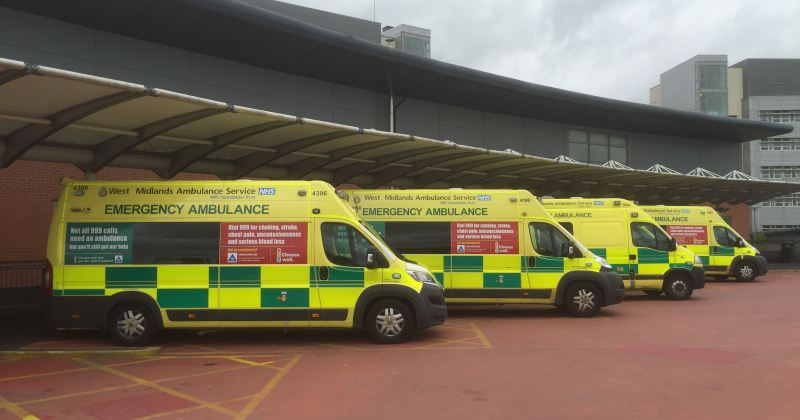 Ambulances at University Hospital Coventry & Warwickshire