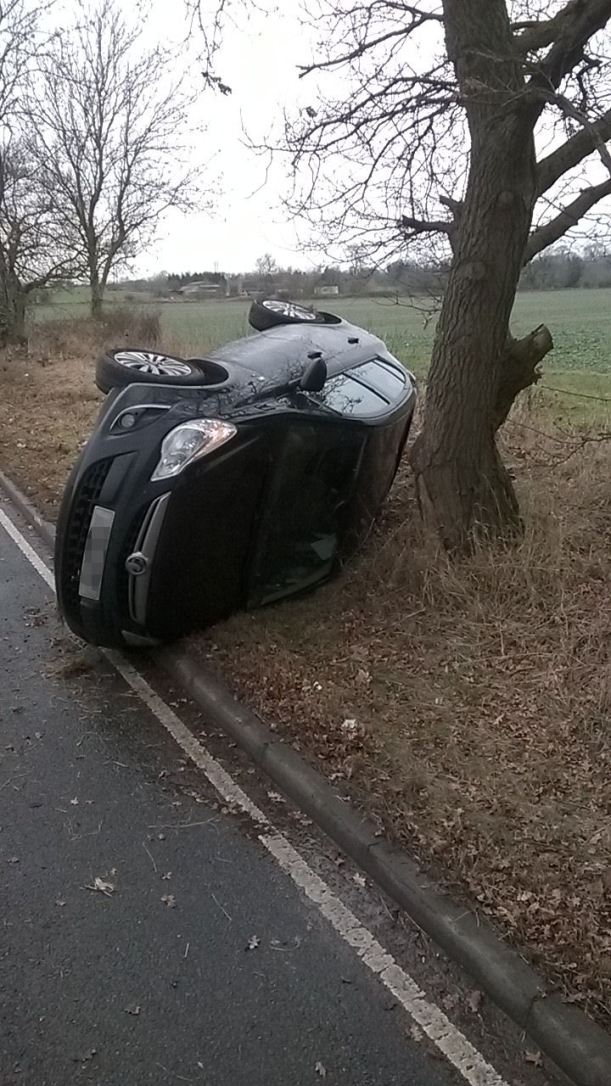 lucky escape for driver as car ends up on side in Nuneaton.jpg