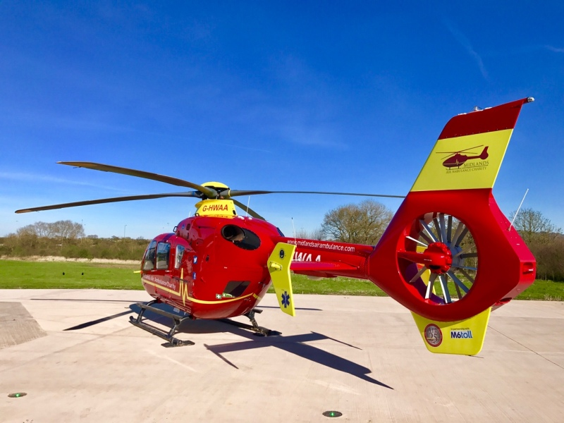 Helimed 06, the Midlands Air Ambulance based at Strensham Services